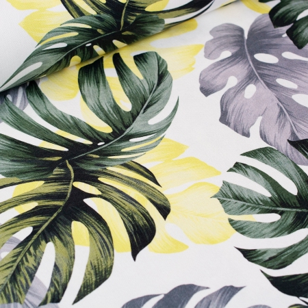 TKANINA DEKORACYJNA MONSTERA GREEN/YELLOW/GREY