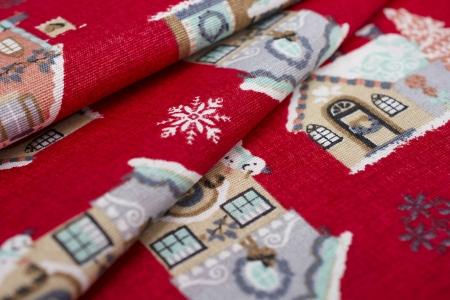 TKANINA DEKORACYJNA CHRISTMAS HOUSE RED