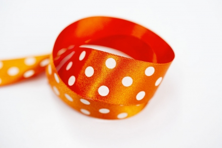 TAŚMA WHITE DOTS / ORANGE
