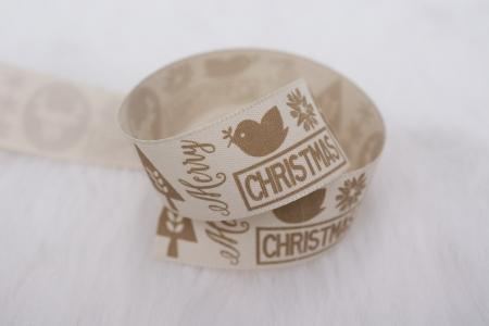 TAŚMA ŚWIĄTECZNA CHRISTMAS ANIMALS BEIGE