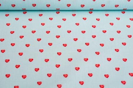 PŁÓTNO HOLANDIA LITTLE HEARTS BLUE