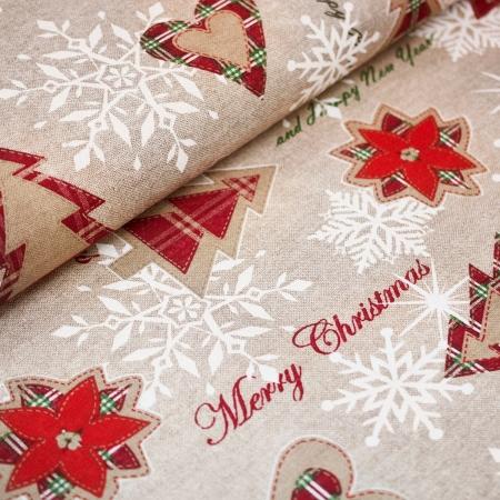 TKANINA DEKORACYJNA MERRY CHRISTMAS
