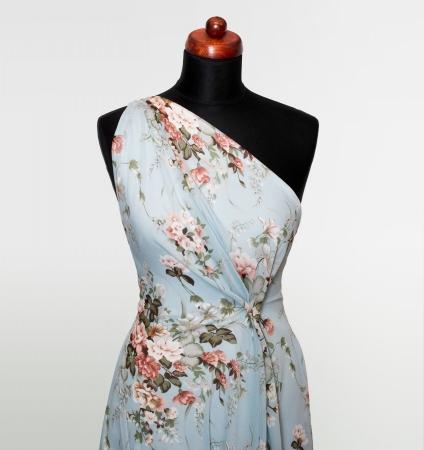 TKANINA SZYFON FLOWER BOUQUET BLUE