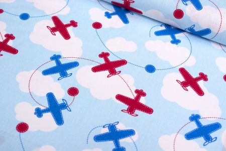 PŁÓTNO BAWEŁNIANE AIRPLANES RED/BLUE
