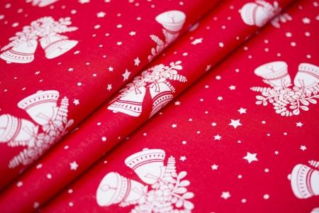 PŁÓTNO BAWEŁNIANE CHRISTMAS BELLS RED