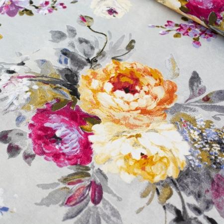 TKANINA DEKORACYJNA ROSE/YELLOW CONTRAST FLOWERS