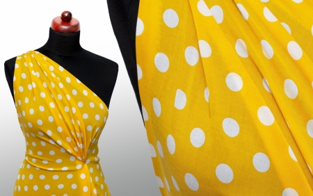 TKANINA WISKOZOWA SUMMER DOTS MINI YELLOW