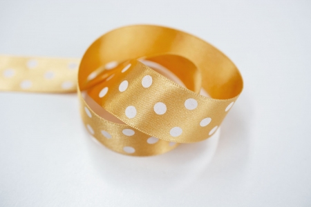 TAŚMA WHITE DOTS / GOLD