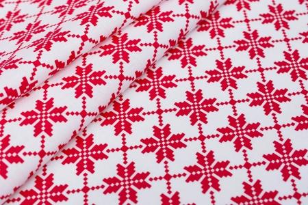 PŁÓTNO BAWEŁNIANE SNOW PIXEL RED/WHITE