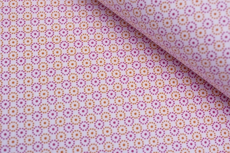 PŁÓTNO HISZPANIA/CIRCLE PATTERN PINK/ORANGE