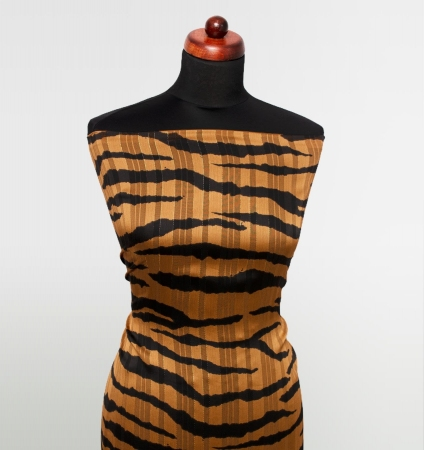 TKANINA SZYFON TIGER STRIPES ALMOND