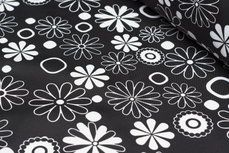 TKANINA MARKIZOWA BLACK/WHITE FLOWERS