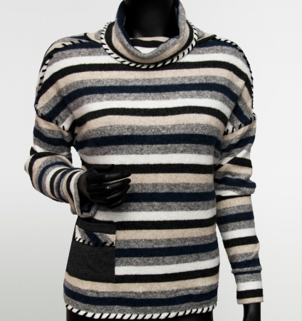 DZIANINA ANGORKA STRIPES BLACK/GREY/NAVY