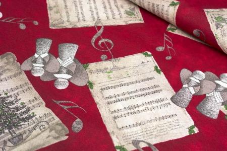 TKANINA DEKORACYJNA CHRISTMAS SONG RED