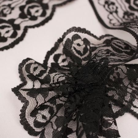 KORONKA NA TAŚMIE BLACK FLOWER (7 cm)