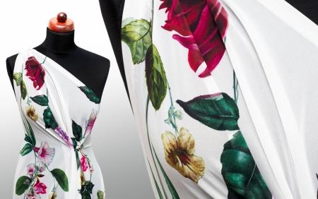 TKANINA SZYFON CLIMBER FLOWERS