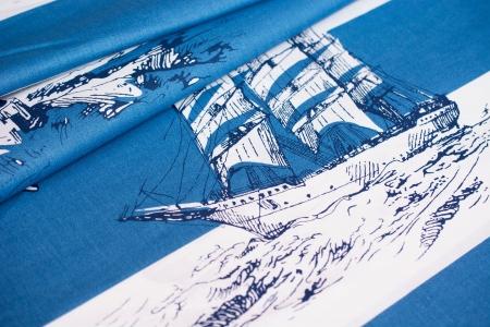 PŁÓTNO BAWEŁNIANE SHIPS & STRIPES BLUE
