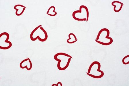 PŁÓTNO BAWEŁNIANE DRAWN HEARTS RED