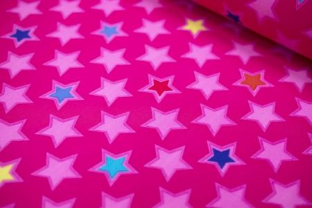 TKANINA SOFTSHELL/POLAR STARS FUCHSIA