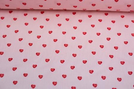 PŁÓTNO HOLANDIA LITTLE HEARTS PINK