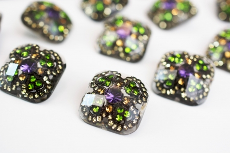 GUZIK PLASTIKOWY DIAMOND GREEN&PURPLE