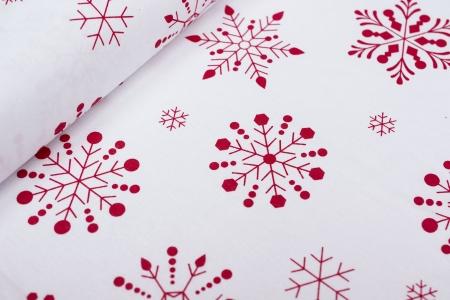 PŁÓTNO BAWEŁNIANE WINTER SNOW RED/WHITE