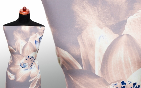 TKANINA KARELIA CREME & BLUE FLOWERS /DOVE