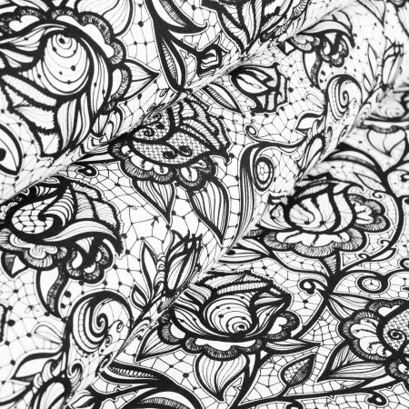 PŁÓTNO BAWEŁNIANE FLOWERS BLACK&WHITE