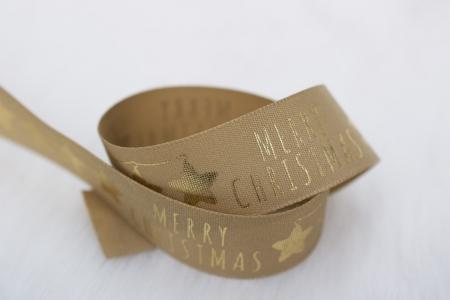 TAŚMA ŚWIĄTECZNA MERRY CHRISTMAS GOLD/BEIGE BIG
