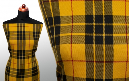 TKANINA WISKOZOWA TARTAN PATTERN HONEY YELLOW