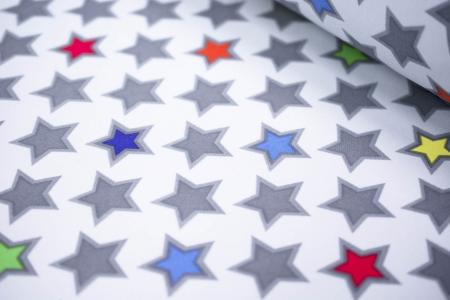 TKANINA SOFTSHELL/POLAR STARS LIGHT GREY