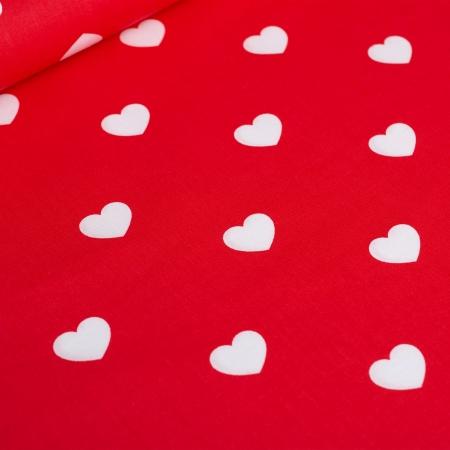 PŁÓTNO BAWEŁNIANE RED HEARTS