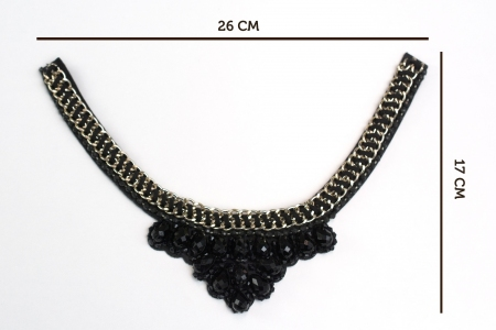 APLIKACJA BLACK NECKLACE WITH GOLD