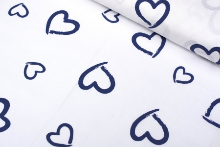 TKANINA BAWEŁNIANA DRAWN HEARTS NAVY