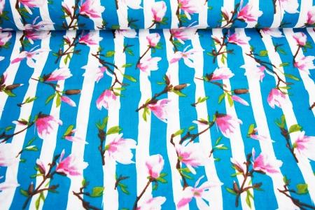 PŁÓTNO BAWEŁNIANE SUMMER FLOWERS&STRIPES
