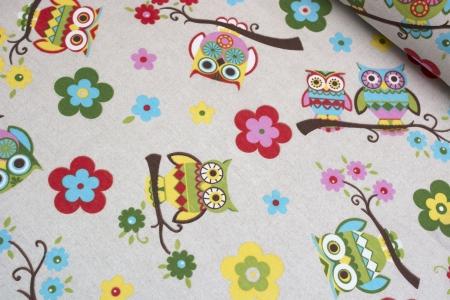 TKANINA DEKORACYJNA OWL & FLOWERS